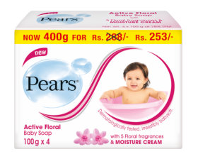 Pears Active Floral Baby Soap Multi Pack 100g*4